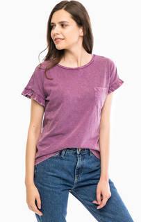 Фиолетовая хлопковая футболка с карманом Tom Tailor Denim