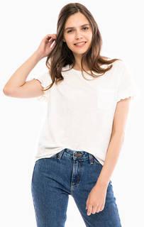 Белая хлопковая футболка с карманом Tom Tailor Denim