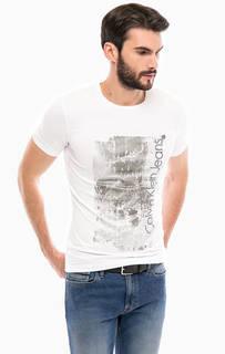 Хлопковая футболка с принтом Calvin Klein Jeans