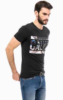 Черная хлопковая футболка с принтом Calvin Klein Jeans