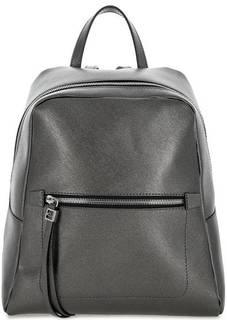 Серебристый кожаный рюкзак с одним отделом Gianni Chiarini