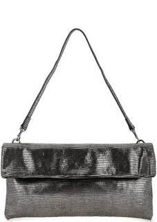 Серебристая кожаная сумка с выделкой под рептилию Gianni Chiarini
