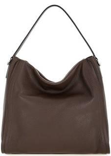 Коричневая кожаная сумка на молнии Gianni Chiarini