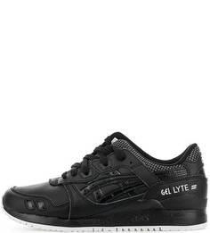 Черные кожаные кроссовки на шнуровке Asics Tiger