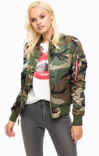Куртка-бомбер камуфляжной расцветки Alpha Industries