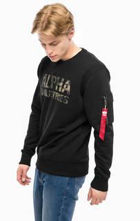 Хлопковый свитшот с логотипом бренда Alpha Industries