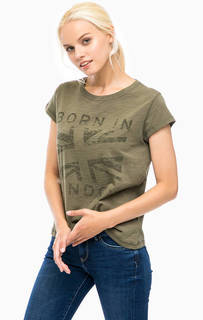 Хлопковая футболка цвета хаки Pepe Jeans