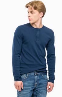Синяя футболка с вырезом на пуговицах Mustang