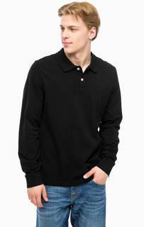 Черная футболка поло с длинными рукавами Mustang