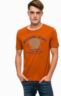 Оранжевая футболка с принтом Mustang
