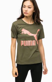 Футболка цвета хаки с принтом Puma