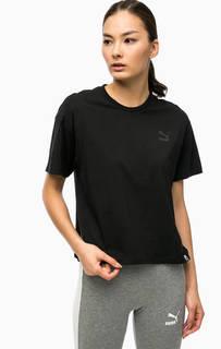 Черная хлопковая футболка Puma