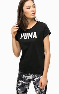 Черная хлопковая футболка с принтом Puma