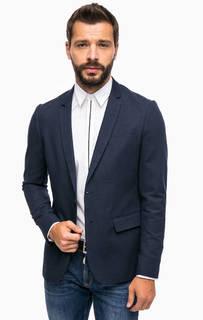 Синий приталенный пиджак из хлопка Antony Morato