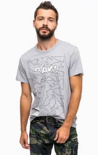Серая хлопковая футболка с принтом G Star RAW