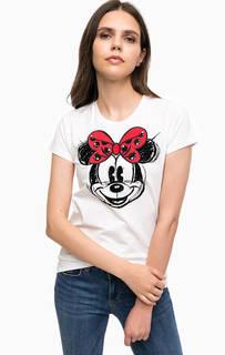Белая хлопковая футболка с принтом Liu Jo
