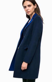 Синее демисезонное пальто на пуговицах Liu Jo