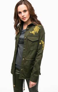 Куртка из хлопка с золотистой вышивкой Guess