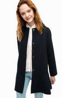 Темно-синее шерстяное пальто с карманами Stefanel