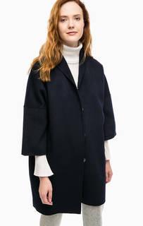 Синее шерстяное пальто с карманами Stefanel