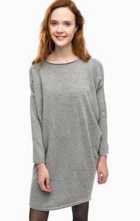 Серое шерстяное платье-свитер Stefanel