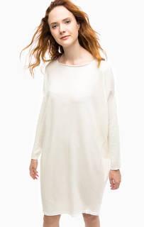 Шерстяное платье-свитер молочного цвета Stefanel
