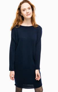 Синее шерстяное платье-свитер Stefanel
