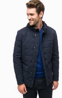 Синяя демисезонная куртка со скрытым капюшоном Lacoste