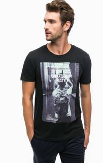 Черная хлопковая футболка с принтом Tom Tailor Denim
