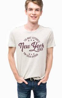 Серая футболка с контрастным принтом Tom Tailor Denim