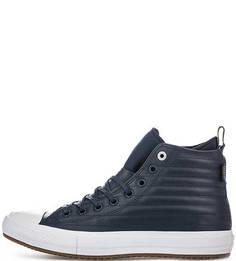 Синие кожаные кеды Converse