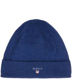 Синяя шапка из шерсти Gant