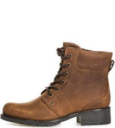 Коричневые ботинки из нубука на шнуровке и молнии Clarks