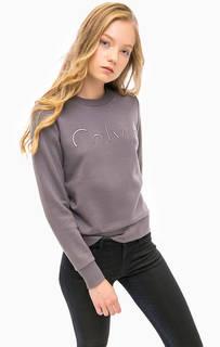 Серый свитшот с логотипом бренда Calvin Klein Jeans