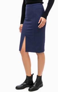 Синяя юбка-карандаш с разрезом спереди Kocca