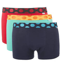 Комплект из трех хлопковых трусов-боксеров Happy Socks