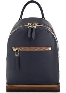 Синий кожаный рюкзак на молнии Gironacci