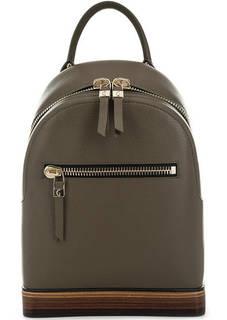 Кожаный рюкзак на молнии цвета хаки Gironacci