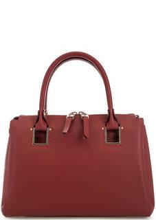 Красная кожаная сумка с короткими ручками Gironacci