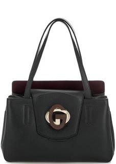 Черная кожаная сумка с откидным клапаном Gironacci