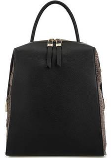 Кожаный рюкзак с меховой отделкой Gironacci