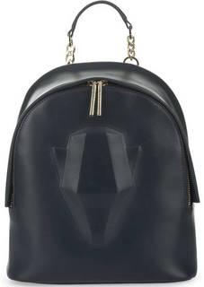 Синий кожаный рюкзак на молнии Cavalli Class