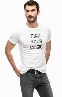 Белая футболка с контрастным принтом Diesel