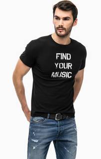 Черная футболка с контрастным принтом Diesel