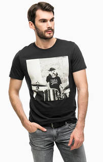 Черная футболка с принтом Jack & Jones