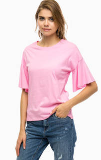 Хлопковая футболка розового цвета Only