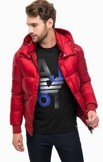 Пуховик красного цвета с капюшоном Armani Jeans