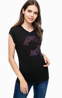 Черная футболка с отделкой стразами Desigual