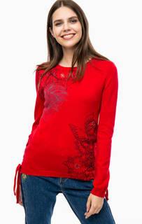 Красный трикотажный джемпер с декором Desigual