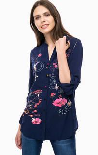 Синяя блуза с ярким принтом Desigual